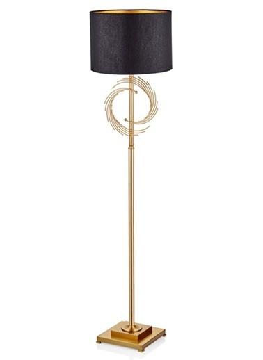 Cemile Altın Metal Halka Siyah Şapkalı Lambader 158 Cm Altın